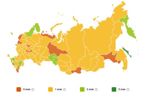 Карта выхода из самоизоляции по всем регионам и этапам